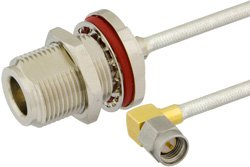 SMA Male Right Angle to N Female Bulkhead Precision Cable Using PE-SR402FL Coax, RoHS