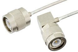 TNC Male to TNC Male Right Angle Precision Cable Using PE-SR405FL Coax, RoHS