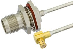 TNC Female Bulkhead to MCX Plug Right Angle Precision Cable Using PE-SR405FL Coax, RoHS