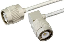 TNC Male to TNC Male Right Angle Precision Cable Using PE-SR402FL Coax, RoHS