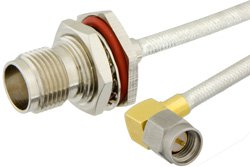 SMA Male Right Angle to TNC Female Bulkhead Precision Cable Using PE-SR402FL Coax, RoHS