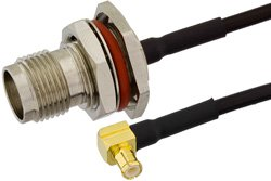 TNC Female Bulkhead to MCX Plug Right Angle Precision Cable Using PE-SR405FLJ Coax, RoHS