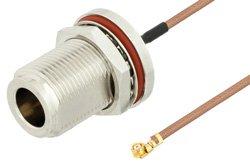 N Female Bulkhead to UMCX 2.5 Plug Cable Using RG178 Coax, RoHS