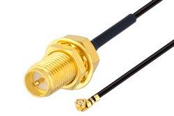 Reverse Polarity SMA Female Bulkhead to UMCX 2.5 Plug Cable Using 1.37mm Coax, RoHS