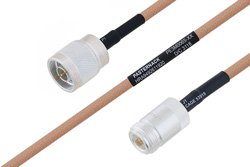 PE3M0065 - MIL-DTL-17 N Male to N Female Cable Using M17/128-RG400 Coax