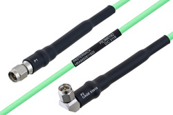 Temperature Conditioned SMA Male to SMA Male Right Angle Low Loss Cable 8 Inch Length Using PE-P160LL Coax