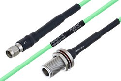 Temperature Conditioned SMA Male to N Female Bulkhead Low Loss Cable 18 Inch Length Using PE-P160LL Coax