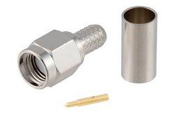 PE4008 - SMA Male Connector Crimp/Solder Attachment for RG55, RG142, RG223, RG400, RG141