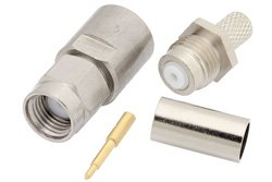 PE4085 - SMA Male Connector Clamp/Solder Attachment for PE-P195, PE-C195, RG58, RG141, RG303, 0.195 inch, LMR-195