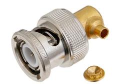 PE4102 - BNC Male Right Angle Connector Solder Attachment For PE-SR405AL, PE-SR405FL, RG405