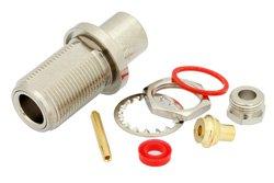PE4113 - N Female Bulkhead Connector Clamp/Solder Attachment For PE-SR402AL, PE-SR402FL, RG402, .640 inch DD Hole