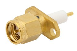PE4127 - SMA Male Connector Solder Attachment 2 Hole Flange Mount Stub Terminal, .481 inch Hole Spacing