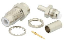 PE4166 - 75 Ohm SMC Jack Bulkhead Connector Crimp/Solder Attachment For RG180, RG195, .177 inch D Hole