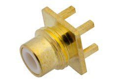 PE4176 - 75 Ohm SMC Jack Connector Solder Attachment Thru Hole PCB, .200 inch x .067 inch Hole Spacing