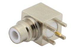 PE4180 - 75 Ohm SMC Jack Right Angle Connector Solder Attachment Thru Hole PCB, .200 inch x .067 inch Hole Spacing