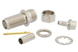 SMA Female Bulkhead Connector Crimp/Solder (Captive Contact) Attachment For RG316, RG174, RG188, .235 inch D Hole