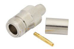 PE4191 - N Female Connector Crimp/Solder Attachment for RG214, RG9, RG225, RG393