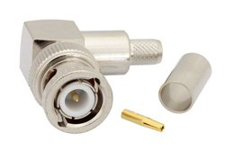 PE4195 - BNC Male Right Angle Connector Crimp/Solder Attachment For RG59, RG62