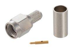 PE4215 - SMA Male Connector Crimp/Solder Attachment for RG58, RG303, RG141, PE-C195, PE-P195, LMR-195, 0.195 inch