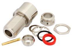PE4223 - N Female Bulkhead Connector Clamp/Solder Attachment For RG213, RG214, RG8, RG9, RG11, RG225, RG393, .640 inch DD Hole