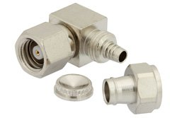 SMC Plug Right Angle Connector Clamp/Solder Attachment for RG174, RG316, RG188, LMR-100, PE-B100, PE-C100, 0.100 inch