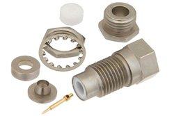 PE4283 - 75 Ohm SMC Jack Bulkhead Connector Clamp/Solder Attachment For RG180, RG195, .177 inch D Hole
