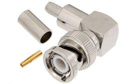 PE4298 - BNC Male Right Angle Connector Crimp/Crimp Attachment for RG58, RG303, RG141, PE-C195, PE-P195, LMR-195, 0.195 inch