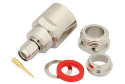 PE4332 - SMA Male Connector Clamp/Solder Attachment for RG213, RG214, RG8, RG9, RG11, RG225, RG393, RG144, RG216, RG215