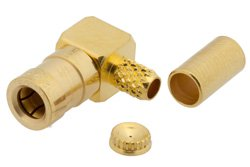 PE4334 - SSMB Plug Right Angle Connector Crimp/Solder Attachment for RG174, RG179, RG316, RG188, PE-B100, PE-C100, 0.100 inch, LMR-100
