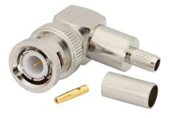 PE4345 - BNC Male Right Angle Connector Crimp/Solder Attachment for RG55, RG141, RG142, RG223, RG400