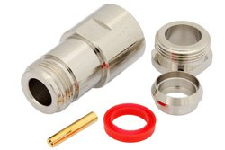 N Female Connector Clamp/Solder Attachment for PE-B400, PE-B405, PE-C400, LMR-400, 0.400 inch