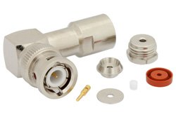PE4388 - BNC Male Right Angle Connector Clamp/Solder Attachment For RG178, RG196