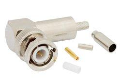 PE4393 - BNC Male Right Angle Connector Crimp/Solder Attachment for RG174, RG316, RG188, .100 inch, PE-B100, PE-C100, LMR-100