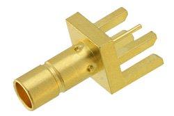 PE44131 - 75 Ohm Mini SMB Jack Connector Solder Attachment .062 inch End Launch PCB