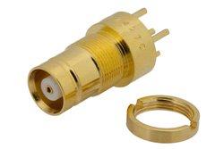 PE44270 - 75 Ohm 1.6/5.6 Jack Bulkhead Connector Solder Attachment Thru Hole PCB, .362 inch Diameter