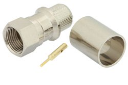 75 Ohm F Male Connector Crimp/Solder Attachment for RG11, RG216, RG144