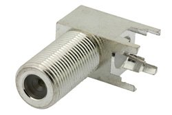 PE44333 - 75 Ohm F Female Right Angle Connector Solder Attachment Thru Hole PCB, .320 inch x .091 inch Hole Spacing