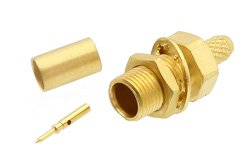 RP MCX Jack Bulkhead Connector Crimp/Solder Attachment For RG174, RG316, RG188, .177 inch D Hole