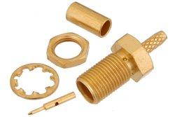 PE44374 - RP MCX Jack Bulkhead Connector Crimp/Solder Attachment For RG178, RG196, .177 inch D Hole
