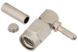 PE44380 - SSMA Male Right Angle Connector Crimp/Solder Attachment for RG178, RG196