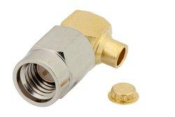 PE44384 - SSMA Male Right Angle Connector Solder Attachment for PE-SR405AL, PE-SR405FL, PE-SR405FLJ, RG405