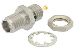SSMA Female Bulkhead Mount Connector Solder Attachment Turret Terminal, .177 inch D Hole