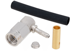 PE44402 - SSMA Male Right Angle Connector Solder Attachment For RG178, RG196
