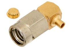 PE44421 - SSMA Male Right Angle Connector Solder Attachment For PE-047SR, PE-SR047AL, PE-SR047FL