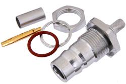 PE44605 - QN Female Bulkhead Mount Connector Crimp/Solder Attachment for RG55, RG141, RG142, RG223, RG400, .500 inch Diameter, IP68