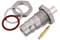 PE44609 - QN Female Bulkhead Mount Connector Solder Attachment for PE-SR402AL, PE-SR402FL, PE-SR402FLJ, PE-SR402TN, RG402, .500 inch Diameter, IP68