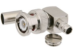 PE44641 - BNC Male Right Angle Connector Crimp/Solder Attachment for PE-C240, RG8X, 0.240 inch, LMR-240, LMR-240-DB, LMR-240-UF, B7808A