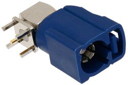 FAKRA Jack Right Angle Connector Solder Attachment Thru Hole PCB, Blue Color