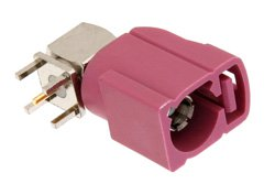 FAKRA Jack Right Angle Connector Solder Attachment Thru Hole PCB, Violet Color