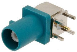 FAKRA Plug Right Angle Connector Solder Attachment Thru Hole PCB, Water Blue Color